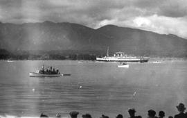 "C.P.R. ""Princess Marguerite"" with King George VI and Queen Elizabeth  sailing from Pier..."