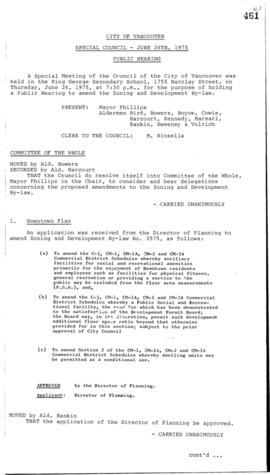 Special Council Meeting Minutes : June 26, 1975