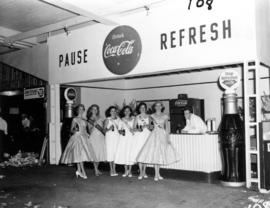 Miss Vancouver 1955 contestants posing at Coca-Cola display