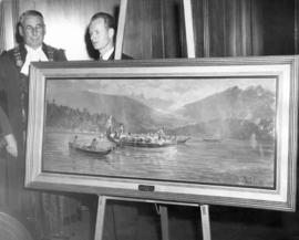 [Mayor Fred J. Hume and Ronald S. Ritchie behind painting of Captain George Vancouver's boats]