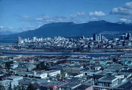 [Northwest facing cityscape view of Mount Pleasant, False Creek and Downtown]