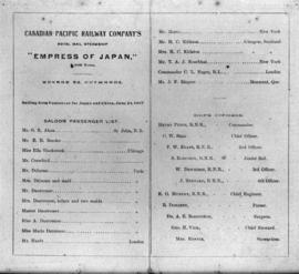 "Copy of old ""Empress"" sailing lists"