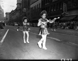 Young majorettes in 1953 P.N.E. Opening Day Parade