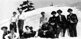 [James Crookall and others in the snow]