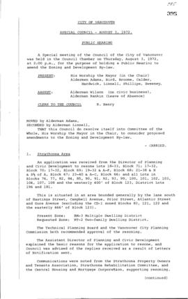 Special Council Meeting Minutes : Aug. 3, 1972