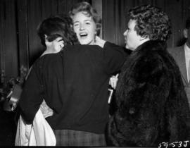 Anna Finlayson congratulated after being named Miss P.N.E. 1959