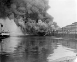 [View of the fire at C.P.R. Pier D]