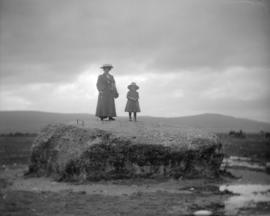 [Annie and Jean Davidson on the Cumberland Stone, Culloden]