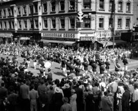 Firemen's Band of Vancouver in 1947 P.N.E. Opening Day Parade