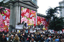 "[""Take Back Our City"" anti-Olympics rally outside the Vancouver Art Gallery]"