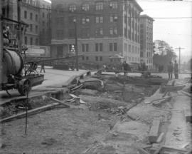 [Excavated street at Cordova and Granville, for realignment of street and streetcar tracks with s...