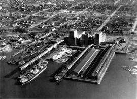 Aerial view looking south towards Vancouver Terminal Company grain elevators and docks