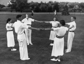 English country folk dancing, university grounds, Aug. 1936