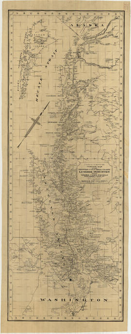 Indexed map of the British Columbia coast logging industry showing logging camps, sawmills, steam...