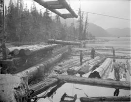 [Logs being made into a Davis Raft for] Pacific Mills [on the] Queen Charlotte Islands