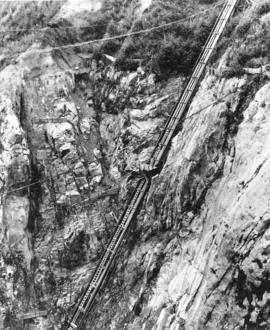 [A lift on the face of Capilano Canyon during the construction of the Cleveland Dam]