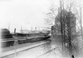 [View of the second C.P.R station and yard at the foot of Granville Street]