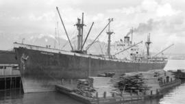 S.S. Mariblanca [at dock, with lumber-filled barges alongside]