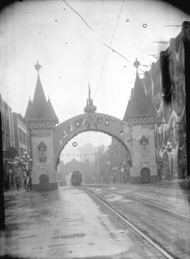 [German, Austrian and Swiss Societies arch at Granville and Georgia Streets, erected for visit of...