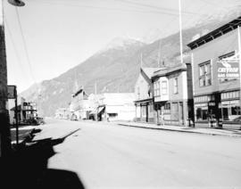 [View of buildings and businesses on a Skagway Alaska street]