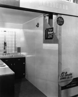 E.L. Saunders Lumber Co. display of household applications for Hardboard brand plywood
