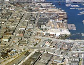 Aerial view of Mount Pleasant, False Creek, facing west, at 1st Avenue and Quebec Street with 2nd...