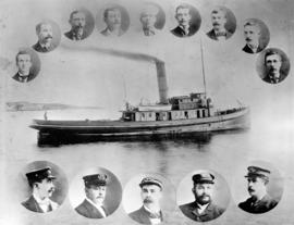 "[Tugboat ""Lorne"" surrounded by head and shoulder portraits of men]"
