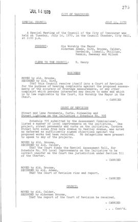 Special Council Meeting Minutes : July 14, 1970
