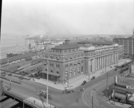 [View of the C.P.R. train station from the roof of the Post Office]