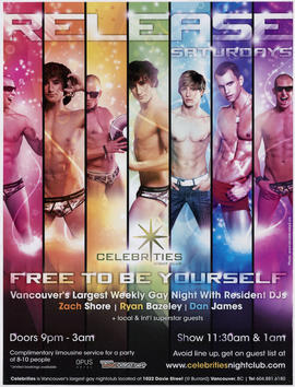 Release Saturdays : Celebrities Night Club : free to be yourself : Vancouver's largest weekly gay...