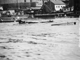 Canoes capsizing, Indian canoe races, Coal Harbour, August 15th, 1936