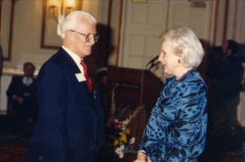 Jeanne Sauvé speaking to unidentified man