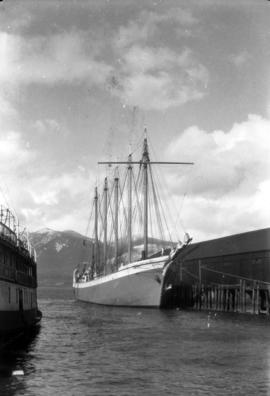 "[Five-masted ship ""Mable Brown"" at dock]"