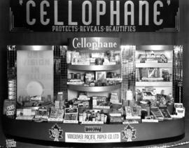 Cellophane display of food wrapping products