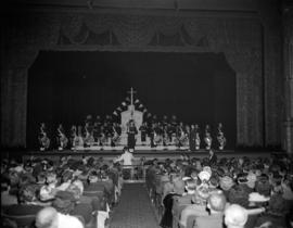 "[Sea cadet band on stage at the Orpheum Theatre for the opening of the movie ""Meet the Navy&..."