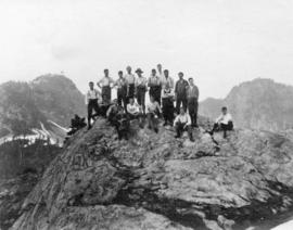 [A group of men on the top of Mount Bishop]