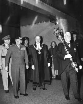 Field Marshal the Viscount Montgomery of Alamein, G.C.B. leaving the Council Chamber, City Hall, ...