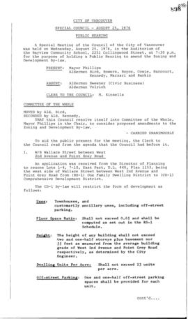 Special Council Meeting Minutes : Aug. 25, 1976
