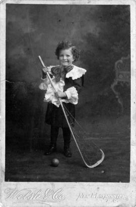 John Howard Godfrey aged 3 years with lacrosse stick