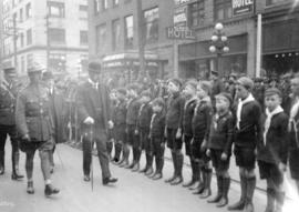 [Duke of Devonshire visit - inspecting boy scouts - Mayor Harry Gale behind]