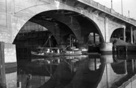 Fish boats under the [Georgia Viaduct]