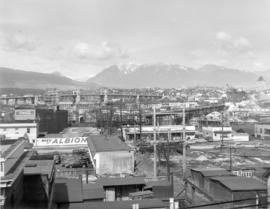 [View looking north showing the new Granville Bridge under construction]