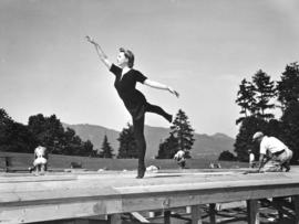 [Miss Jean McKenzie rehearsing for pageant to celebrate Vancouver's Diamond Jubilee at Brockton P...