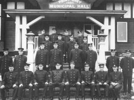 [Police and Firemen in front of the Point Grey Municipal Hall]