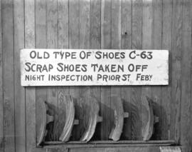 Old type of shoes C-63. Scrap shoes taken off night inspection Prior St. Feb'y.