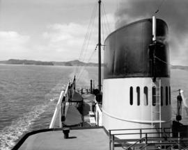 "[Smoke stack and partial view of stern deck of S.S. ""Chilcotin""]"