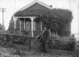 [Joe Fortes in front of his cottage on English Bay at the foot of Bidwell Street (1700 Beach Aven...
