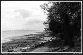 Morning under Point Grey [view of shoreline and downtown buildings in the distance]