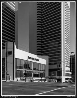 [Royal Bank Building and the Hyatt Regency Hotel at] Burrard at Georgia Streets