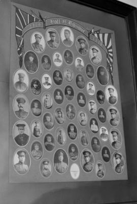 Framed roll of honour including composite photograph